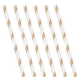 Rose Gold Stripe Paper Straws