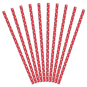 Red Dots Paper Straws