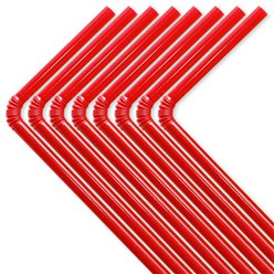 Red Plastic Flex Straws