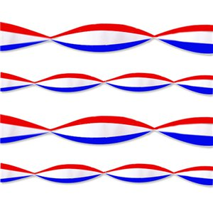 Red, White & Blue Crepe Streamer - 9m