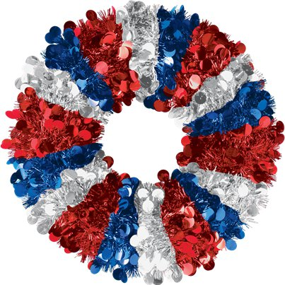Jumbo Red, White & Blue Tinsel Wreath