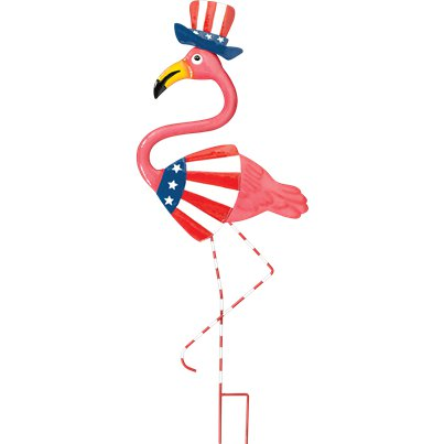 Patriotic Flamingo Metal Yard Stake