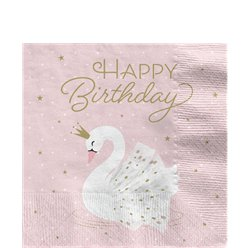 Lovely Swan 'Happy Birthday' Paper Napkins - 33cm