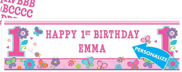 Sweet Girl 1st Birthday Personalised Banner