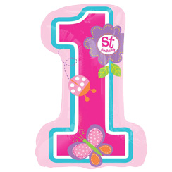 "Sweet Girl 1st Birthday Supershape Balloon - 28"" Foil"