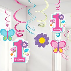 Sweet Girl 1st Birthday Hanging Swirl