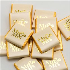 Gold 'Mr & Mrs' Chocolate Neapolitans - 50pk
