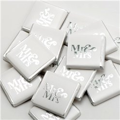 Silver 'Mr &  Mrs' Chocolate Neapolitans - 50pk