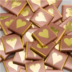 Rose Gold Heart Chocolate Neapolitans - 50pk
