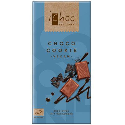 Vegan Rice Milk Chocolate Bar with Cookie