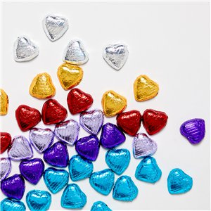Silver Foil Chocolate Hearts - 20pk