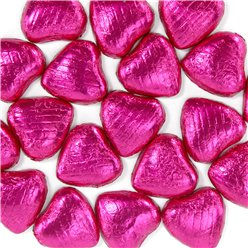 Cerise Foil Chocolate Hearts - 20pk