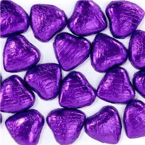 Purple Foil Chocolate Hearts - 20pk