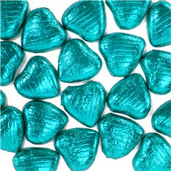 Turquoise Foil Chocolate Hearts - 20pk