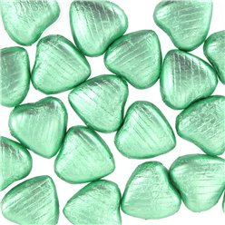 Pale Green Chocolate Hearts - 20pk