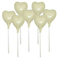 Ivory Heart Chocolate Lollipops - 10pk