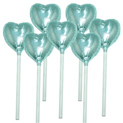 Light Blue Heart Chocolate Lollipops - 10pk