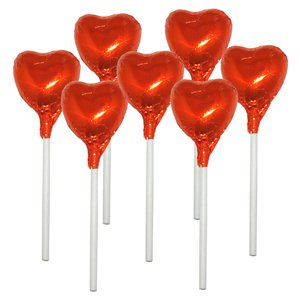 Orange Heart Chocolate Lollipops - 10pk