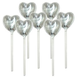 Silver Heart Chocolate Lollipops - 10pk