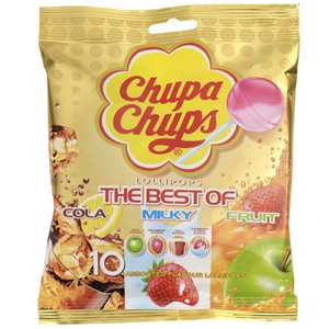 Chupa Chups Lollipops - The Best of Cola, Milky & Fruit Flavours - 10pk