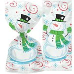 Snowman Swirl Christmas Cello Bags - 30cm