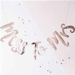 Team Bride 'Miss to Mrs' Rose Gold Banner - 1.5m