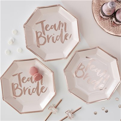 Team Bride Rose Gold Paper Plates - 25cm