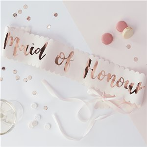 Team Bride Foiled 'Maid of Honour' Sash - 75cm