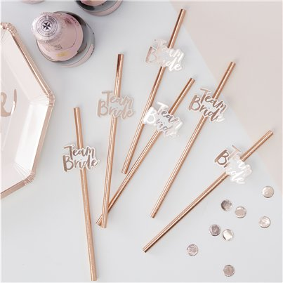 'Team Bride' Rose Gold Paper Straws