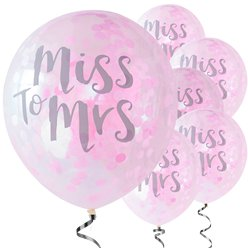 "Team Bride 'Miss to Mrs' Pink Confetti Balloons - 12"" Latex"