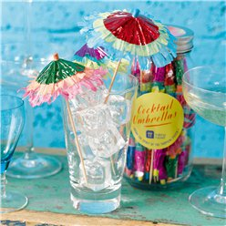 Tropical Fiesta Cocktail Umbrellas in a Jar