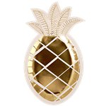 Gold Pineapple Paper Plates - 25cm