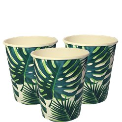 Tropical Fiesta Palm Paper Cups - 250ml