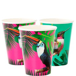 Tropical Fiesta Bright Large Paper Cups - 340ml