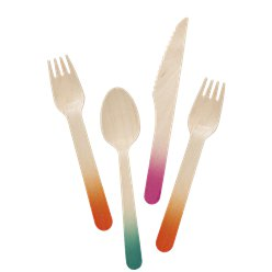 Tropical Fiesta Ombre Wooden Assorted Cutlery