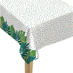 Tropical Leaf Flannel Backed Plastic Tablecover - 1.37m x 2.6m