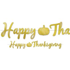 Happy Thanksgiving Gold Foil Banner - 1.5m