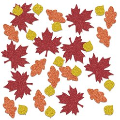 Autumn Fall Sparkle Leaf Table Confetti - 14g