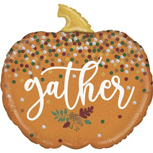 Gather Glitter Pumpkin Balloon - 28