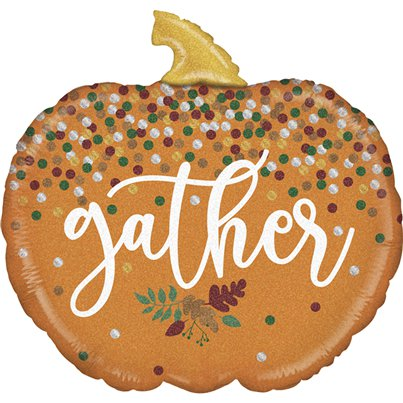 "Gather Glitter Pumpkin Balloon - 28"" Foil"