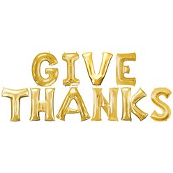 GIVE THANKS Gold Balloon Kit - 16""