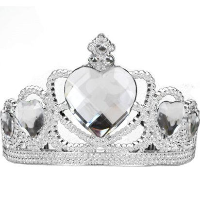 Silver Tiara with Clear Gems - Princess Fancy Dress Accessories front