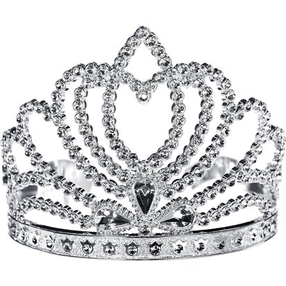 Silver Princess Tiara - Girl's Fancy Dress Costume Accessories front