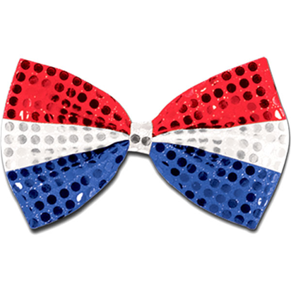 Red, Silver & Blue Sequin Bow Tie front