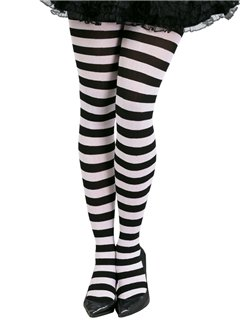 Black & White Striped Tights - Adult One Size