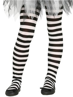 Black & White Striped Tights - Child One Size
