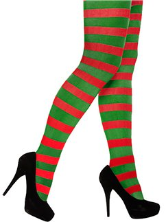 Green & Red Striped Tights - Adult One Size