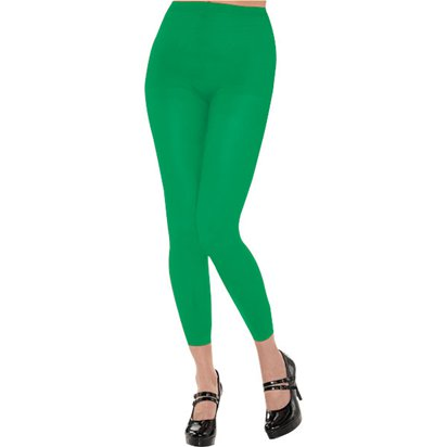 Green Footless Tights - Women's Tights UK 10-14 front