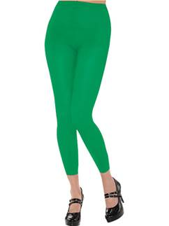 Green Footless Green Tights - Adult Size 10-14