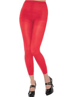 Red Footless Tights - Adult Size 10-14